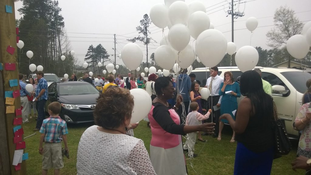 Releasing of the balloons
